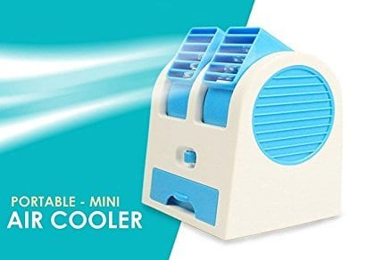 Mini Fan & Portable Dual Bladeless Small Air Conditioner Powered By Usb & Battery Use Of Car/Home/Office