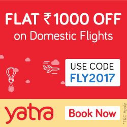 Flat Rs.1000 Off on Domestic Flights Booking – Yatra.com