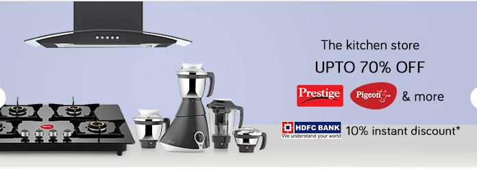 Snapdeal Offer: Upto 70% OFF on Kitchen Store on all brands like Pigeon, prestige, bajaj and more...  Extra 10% Instant Discount offer on HDFC Bank.
